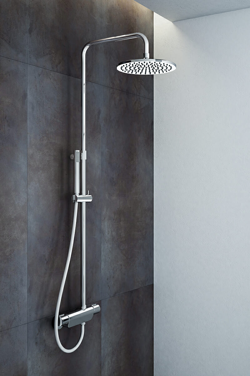 Chromed shower column with thermostatic mixer Mariner Rubinetterie